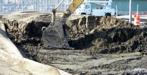 dry sludge from dewatering tube loade in truck by excavator