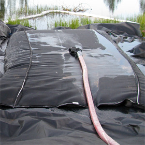 Small Dewatering Bag on Containment Liner